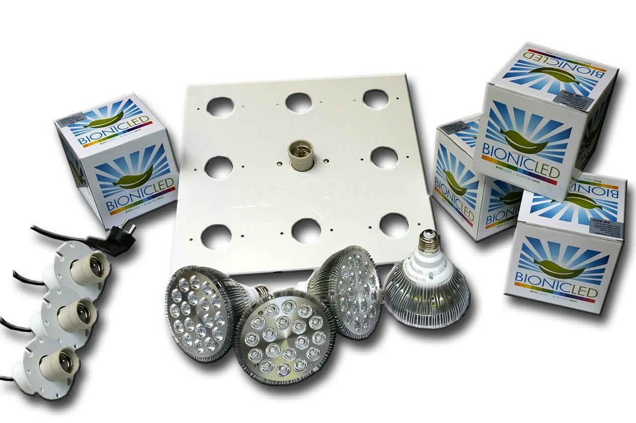 LED - BIONICLED - PACK 4 x BioSpot 54 W - E27 + Douille + Platine