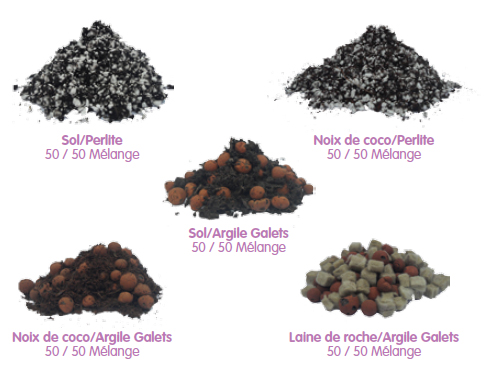 substrat - fibre de coco - perlite - terre - billes d'argiles - LDR